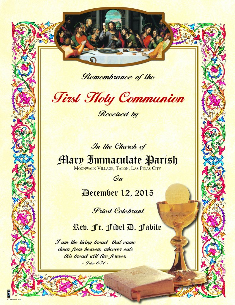 First Communion Certificate No 1 Sons Of Holy Mary